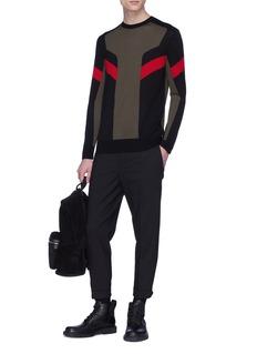 NEIL BARRETT 拉链设计混初剪羊毛微锥形露踝裤