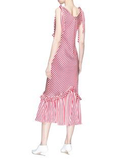 Maggie Marilyn 斜条纹荷叶边系带缎面连衣裙