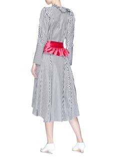 Maggie Marilyn 荷叶边腰带拼色条纹V领连衣裙