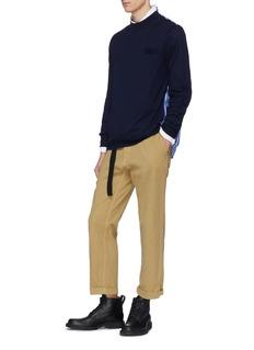 SACAI 条纹纯棉拼接羊毛针织衫