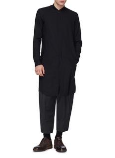 DEVOA 暗条纹羊毛长款衬衫