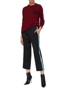 ADAPTATION 拼色针织侧条纹羊毛露踝裤