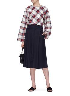 MS MIN 羊毛混丝开衩半裙