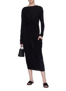MS MIN 搭叠褶裥羊毛针织连衣裙