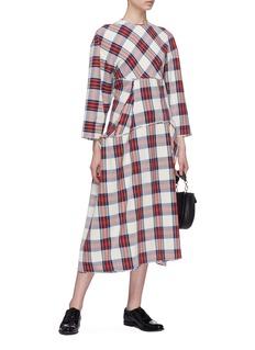 MS MIN 拼接设计格纹连衣裙
