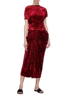 MS MIN 暗花纹褶裥天鹅绒不对称连衣裙