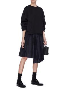 MS MIN 暗格纹系带不对称百褶半身裙