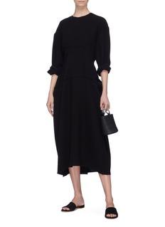 MS MIN 落肩设计不对称羊毛连衣裙