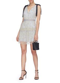 SELF-PORTRAIT 系带设计刺绣薄纱深V连衣裙