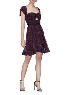 SELF-PORTRAIT 泡泡袖镂空荷叶边波点连衣裙