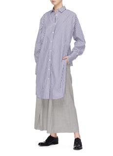 The Keiji 拼色条纹前长后短府绸衬衫