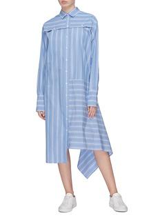 The Keiji 两种穿法条纹布饰不对称衬衫裙