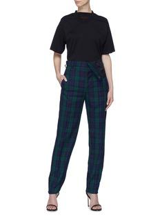 Y/Project 不对称翻折裤腰格纹长裤