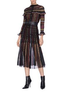 Alexander McQueen 金属感条纹网纱半身裙
