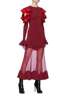 Alexander McQueen 波浪设计透视拼接半身裙