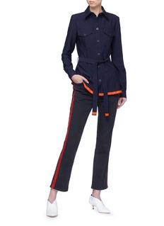 VICTORIA, VICTORIA BECKHAM 拼色条纹系带羊毛斜纹布衬衫