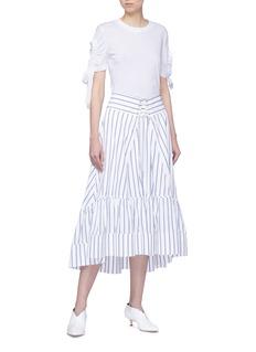 VICTORIA, VICTORIA BECKHAM 镂空抽褶系带纯棉T恤