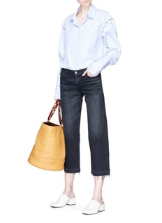 SIMON MILLER 水彩涂鸦须边阔腿七分牛仔裤