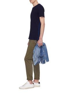 DENHAM 条纹拼接纯棉T恤