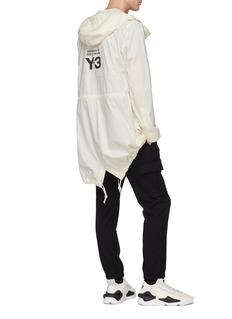 Y-3 oversize品牌名称连帽有机棉派克夹克