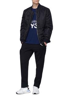 Y-3 拼接设计混羊毛抽绳休闲裤