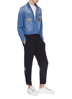 Alexander McQueen 拉链裤脚口缎面条纹长裤