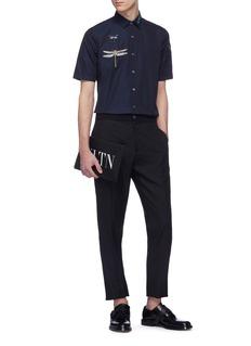 VALENTINO 珠饰蜻蜓刺绣纯棉衬衫