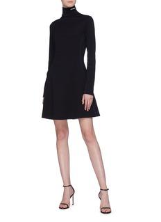 Calvin Klein 205W39NYC 品牌名称车缝线点缀高领连衣裙