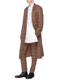 DRIES VAN NOTEN Copper系带褶裥布饰拼接长款衬衫