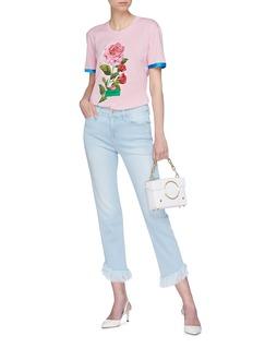 DOLCE & GABBANA 牡丹印花品牌名称星星铆钉T恤