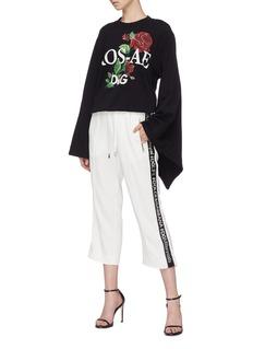 DOLCE & GABBANA 和服袖玫瑰图案纯棉卫衣