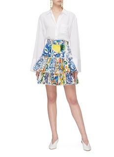 DOLCE & GABBANA 层叠荷叶边印花高腰纯棉短裙