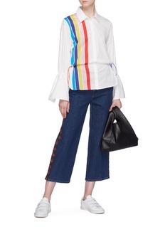 MIRA MIKATI 抽绳细节拼色条纹oversize衬衫