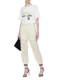 GUCCI 花卉蕾丝拼色条纹锥形裤