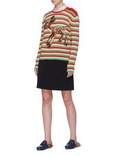 GUCCI 小鹿斑比拼色条纹混羊毛针织衫