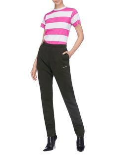 BALENCIAGA 品牌名称拼色条纹纯棉T恤