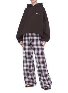 BALENCIAGA 格纹及地阔腿裤