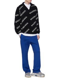 BALENCIAGA 品牌名称半开襟oversize针织衫