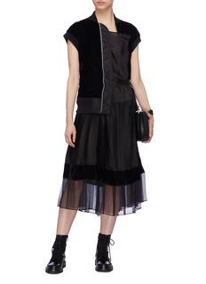 SACAI 仿两件式天鹅绒夹克拼接网纱连衣裙