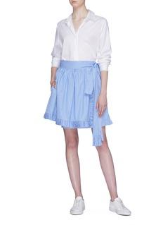 STELLA MCCARTNEY 荷叶边拼色条纹仿包裹式系带半身裙