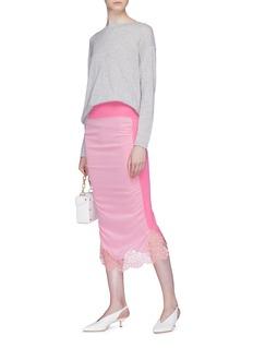 STELLA MCCARTNEY 花卉蕾丝真丝拼接初剪羊毛针织半身裙