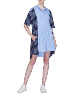 STELLA MCCARTNEY 格纹及条纹拼接纯棉衬衫裙