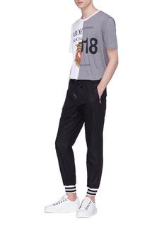 DOLCE & GABBANA 拼色条纹裤脚口抽绳休闲裤