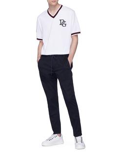 DOLCE & GABBANA KING品牌标志oversize V领纯棉T恤