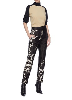 HAIDER ACKERMANN Leonotis刺绣暗条纹布饰拼接绉绸长裤