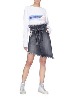 TORTOISE Mary编织腰带不对称牛仔纸袋短裙