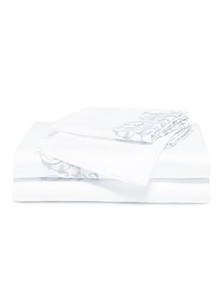 首图 –点击放大 - FRETTE - Ornate Medallion特大双人床叶片刺绣纯棉四件套-奶白色及浅灰蓝色