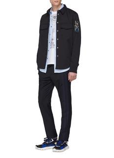 Valentino 侧条纹羊毛混马海毛锥形裤