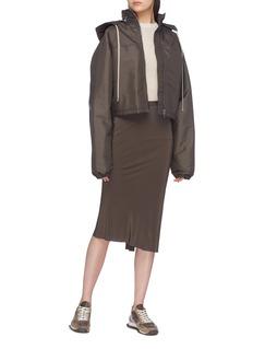 Rick Owens 罗纹针织拼接褶裥真丝半裙