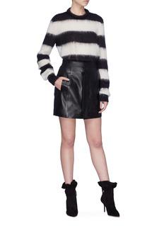 SAINT LAURENT 按扣设计小羊皮半身裙